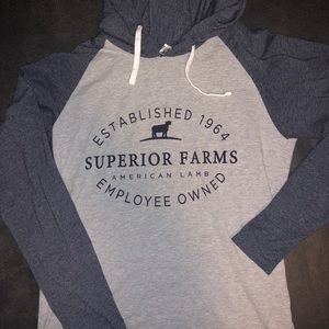 Live&tell superior farms hooded long sleeve tee